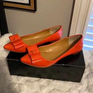 J. Crew Emery Patent Bow Flats in Bright Persimmon